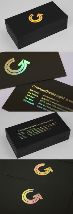 Holographic Foil Stamped Black Business Card