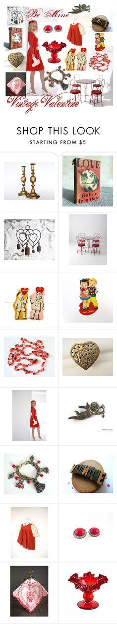"""Be Mine Vintage Valentine"" by vintageandmain ❤ liked on Polyvore featuring interior, interiors, interior design, home, home decor, interior decorating, Saks Fifth Avenue, Fenton and vintage"