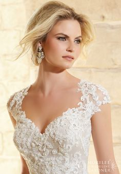 Wedding Dress 2771 Embroidered Lace Appliques with Crystal Beading on Soft Tulle www.BridesofAmerica.com