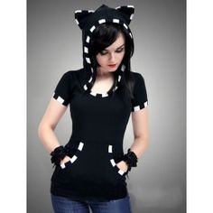 Tee Shirt Gothique Emo Capuche Kitty Chat