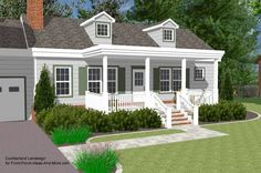 3-d rendering of ranch style home with a flat roof design