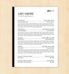 Resume Template / CV Template - The Amy Smith Resume Design - Instant Download - Word Document / Doc / Docx Format
