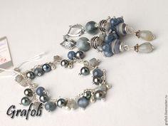 Купить Серебряный комплект с кианитом - серый, синий, серебряный, комплект украшений, серьги и браслет