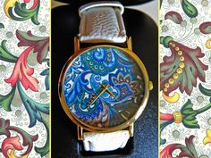 "Elegant watch ""Florentine Paper"", decorated with floral elements imitating the original and famous florentine style. A last special touch is the golden case and hands."
