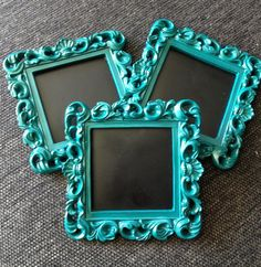 Frame square chalkboard blue green dark teal table number ornate easel back frame wedding sign place card shabby chic on Etsy, $5.00