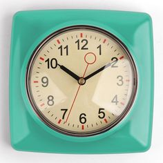 Retro Wall Clock Mint | 13 BUCKS  - http://www.amazon.com/Kikkerland-Retro-Kitchen-Wall-Clock/dp/B006FVBZSO/ref=pd_sim_sbs_hg_4