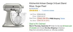 Amazon.ca Offers: Save 54% On KitchenAid Artisan Design 5-Quart Stand Mixer Sugar PearlFor $299.99 http://www.lavahotdeals.com/ca/cheap/amazon-offers-save-54-kitchenaid-artisan-design-5/115890