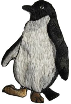 """[Single Count] Custom and Unique (1 3/4"""" by 2 5/8"""" Inches) Wild Animal Fancy Tuxedo Penguin Iron On Embroidered Applique Patch {Black & White Colors}"""