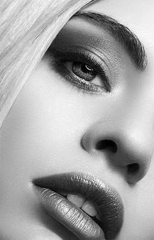 #beauty #women #makeup #black and white #model #portrait