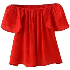 Red Off Shoulder Ruffle Sleeve Wrap Back Blouse (13.110 CLP) ❤ liked on Polyvore featuring tops, blouses, shirts, blusas, wrap shirt, red shirt, red crop top, wrap crop top and off shoulder blouse