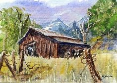 """Rocky Mountain Barn""-Original Watecolor ACEO by Barry Jones"