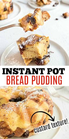Learn to make Bread Pudding in the instant pot! Sweet bites of bread spiced with cinnamon and nutmeg and flecked with raisins, this dessert is simple, comforting and oh-so-delicious. Quick Easy Desserts, Delicious Desserts, Party Cookies Recipe, Custard Bread Pudding, Sweets Recipes, Cooking Recipes, Old Fashioned Bread Pudding, Shugary Sweets, Bark Recipe