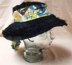 Vintage Ladies Tiki Straw Hat Black Fuzzy Raffia by okanaganvintage on Etsy