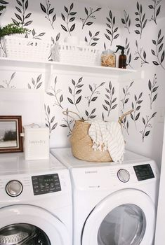Laundry Closet Reveal We love this small closet laundry room! Who says a small laundry room can't make a statement? The black & white wall decals tie the space together. Small Laundry Room – Home Decor – Farmhouse Laundry Room – Wall Paper Laundry Room Farmhouse Laundry Room, Laundry In Bathroom, Laundry Rooms, Laundry Decor, Small Laundry Closet, Mud Rooms, Ikea Laundry, Laundry Closet Makeover, Laundry Cart