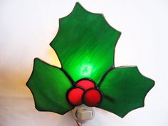 Christmas Holly Stained Glass Night Light by HeirloomsbyTesa, $30.00