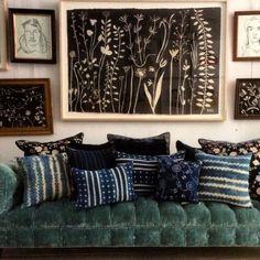 John Derian Brook sofa for Cisco in aqua linen velvet. Silk velvet #AnkeDrechsel & vintage west African textile pillows. Hugo Guinness Art