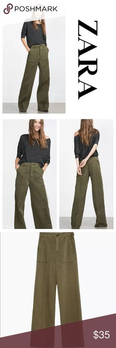 "Zara Green Khaki Wide Leg Trouser Pants Wide leg trousers. High-waist with deep front pockets. Khaki material EURO SIZE 34 US SIZE 2 Waist 13"" Hips 16"" Length 43 1/2"" Inseam 34 1/2"" Zara Pants Trousers"