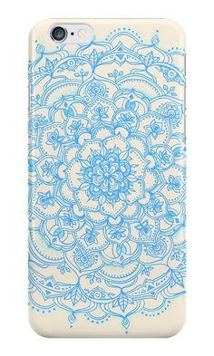 """Pale Blue Pencil Pattern - hand drawn lace mandala"" iPhone Cases & Skins by micklyn 