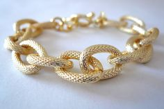 Gold Textured Link Bracelet. $22.00, via Etsy.