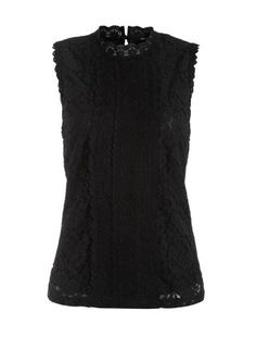 Black Lace High Neck Sleeveless Top  | New Look