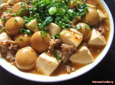 I'm referring this from AromaCookery. Ingredients 100 gms minced pork/chicken/beef 1 300 gm-block tofu, cubed 1 400 gm-can button mushrooms (drained weight 200 gms)* 1 red chilli, deseeded an… Tofu Mushroom Recipe, Oyster Mushroom Recipe, Mushroom Recipes, Tofu Recipes, Asian Recipes, Vegetarian Recipes, Cooking Recipes, Healthy Recipes, Asian Foods