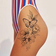Small Thigh Tattoos, Flower Hip Tattoos, Cute Hand Tattoos, Mom Tattoos, Couple Tattoos, Tatoos, Spine Tattoos For Women, Tattoos For Women Flowers, Butterfly Thigh Tattoo
