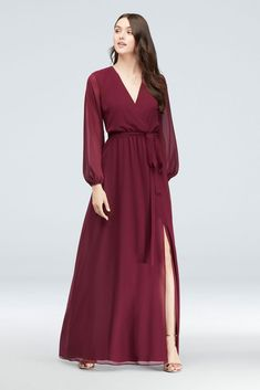 brides maid dresses with sleeves Long Sleeve Chiffon Faux-Wrap Dress Style Merlot, 0 Winter Bridesmaid Dresses, Bridesmaid Dresses With Sleeves, Davids Bridal Bridesmaid Dresses, Wrap Dresses, Wedding Bridesmaids, Burgundy Wedding Guest Dress, Long Fall Dresses, Flattering Bridesmaid Dresses, Maxi Dresses