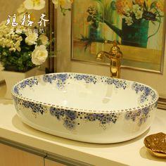 Jingdezhen ceramic violet oval basin stage basin wash basin