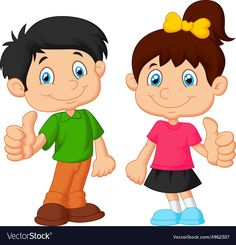 Cartoon boy and girl giving thumb up Royalty Free Vector , Boy And Girl Cartoon, Boy Or Girl, Cartoon Chicken, Bunny Painting, Art Drawings For Kids, Quilt Labels, School Decorations, Happy Mom, Cartoon Images