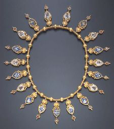 """AN ANTIQUE MICROMOSAIC NECKLACE Decorated with a fringe of nineteen shield-shaped micromosaic drops inscribed """"ROMA FEDE"""", the outer border and surround ornately embellished by applied gold granulation and wirework trim, to the woven gold neckchain, enhanced by polished gold boule intersections and wirework, circa 1880, 15 ins., in a Hancocks & Co. black leather fitted case Auctioned through CHRISTIES OF NEW YORK in 2002 for $ 11950.00"""