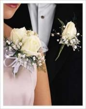 White Rose Corsage and Matching boutonniere.