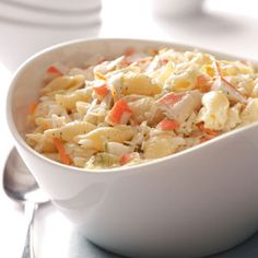 Crab Pasta Salad. This was delicious and will be perfect for Summer. I served it as a main dish over torn Green leaf lettuce and added 1/2 cup of thawed frozen peas. Served it with honey butter croissants.