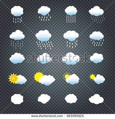 Clouds and sun icons set. Cloud, sun, cloud rain Icons on transparent background Vector illustration Collection of Cloud, rain, sun symbols template For Weather forecast interface design Season banner