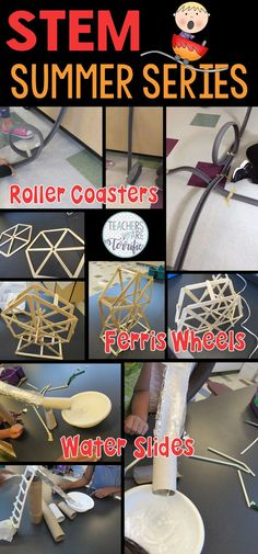 STEM Challenges all about Summer Fun- includes Water Slides, Ferris Wheels, and Roller Coasters!