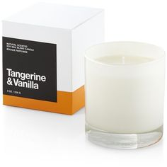 Crate & Barrel Tangerine and Vanilla Scented Candle (35 BAM) found on Polyvore featuring home, home decor, candles & candleholders, apple scented candles, orange candle, orange home decor, rose candle and crate and barrel