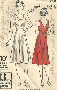 Vintage 40s Sewing Pattern Du Barry 2452 Slip by studioGpatterns, $12.50