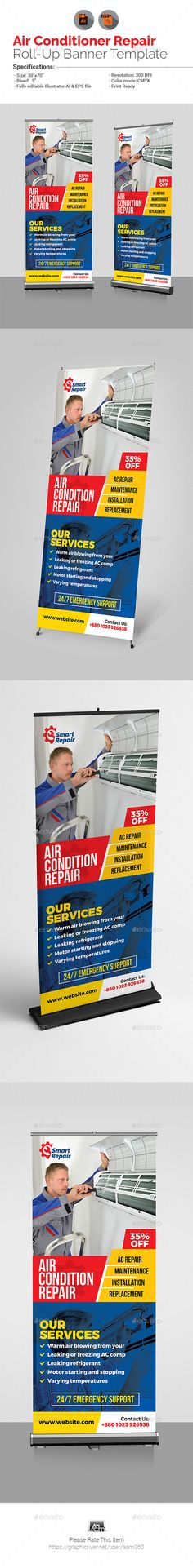 Air Conditioner Repair Service Roll-Up Banner Template Vector EPS, AI Illustrator