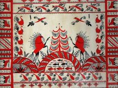 Мезенская роспись Folk Embroidery, Learn Embroidery, Embroidery Patterns, Machine Embroidery, Embroidery Stitches, Traditional Paintings, Traditional Art, Russian Folk Art, Scandinavian Folk Art