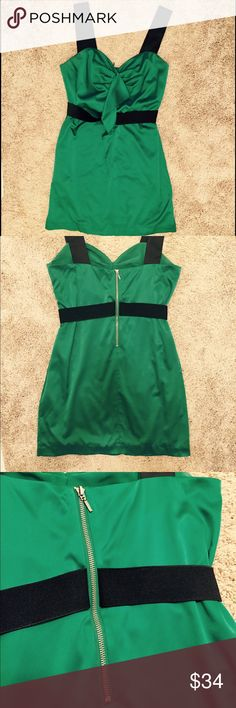 """🌈PRICE ⬇️! BCBG Emerald Satin Cocktail Dress AUTHENTIC BCBG. I have never worn this dress without someone complimenting it. The dress is silky soft, and the waist-cinching attached """"belt"""" is made of elastic and adjusts to nuances in waistline shape. Exposed zipper in the back adds is a perfect finishing touch. BCBGeneration Dresses Mini"""