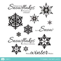 Stunning Snowflakes is a modern Winter themed set featuring 4 sentiments in a beautiful font combination, plus 3 modern snowflake designs in 3 different sizes.