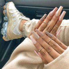 Simple Acrylic Nails, Fall Acrylic Nails, Simple Nails, Clear Acrylic, Natural Acrylic Nails, Ongles Beiges, Acylic Nails, Fire Nails, Nail Swag