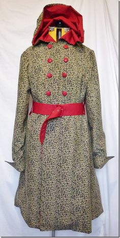 Red riding hood goes safari in cheetah print. The new coat I finished today made out of upcycled duvet covers. YAY