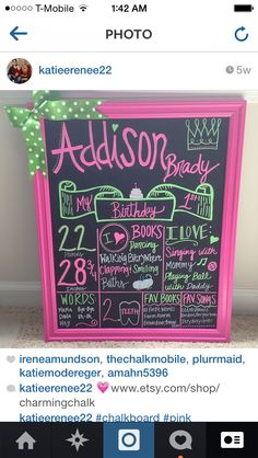First birthday chalkboard sign pink and lime green  Www.etsy.com/shop/charmingchalk