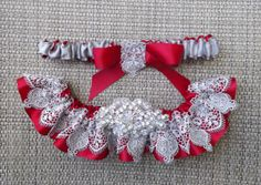Ohio State Team colors!! Crimson and Silver Wedding Garter Set