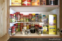 The plastic Spicy Shelf plastic works great in cabinets wider than 18 inches or cabinets with fixed shelves.