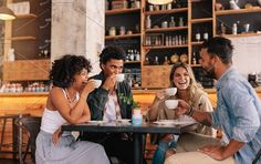 Diverse group of friends enjoying some coffee together in a restaurant and talki. : Diverse group of friends enjoying some coffee together in a restaurant and talking. Young people sitting around cafe table and drinking coffee. Coffee Shop Photography, Group Photography, People Photography, Lifestyle Photography, Photography Ideas, People Drinking Coffee, People's Friend, Group Poses, Group Of Friends