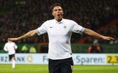 Olivier Giroud against Germany. scores 1st goal of intl friendly game :-)