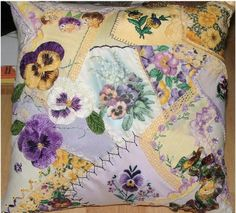 Pillow made with Vintage Handkerchiefs