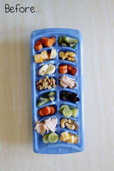 Toddler food - picky eater. Looks like a good way to encourage trying different things :) Maybe also for kids who won't sit for a snack they come up sit eat some, then go back to playing.