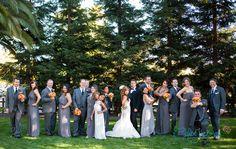 Alex and Carmen | Vintage Estate Wedding | Yountville, Ca | Brides' maids dresses | Grey | Joanna August | Wedding Suits | Vera Wang |